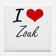 I Love ZOUK Tile Coaster