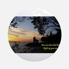 Sunset Lighthouse Round Ornament