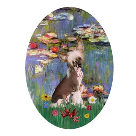 Monet's Lilies & Chinese Crested Oval Ornament