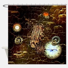 Steampunk, microphone Shower Curtain