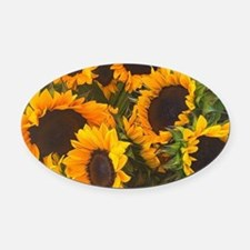 Unique Sunflower Oval Car Magnet