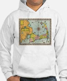 Vintage Map of Cape Cod Hoodie Sweatshirt