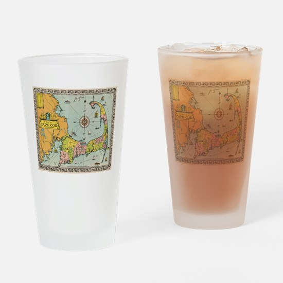 Vintage Map of Cape Cod Drinking Glass
