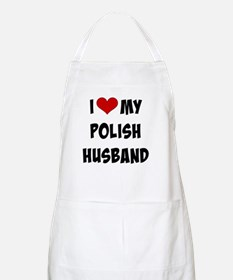 I Love My Polish Husband, funky font Apron
