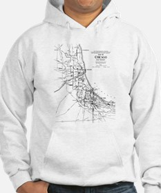 Vintage Map of The Chicago Railr Hoodie