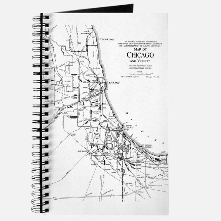 Vintage Map of The Chicago Railroad Networ Journal