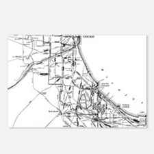 Vintage Map of The Chicag Postcards (Package of 8)