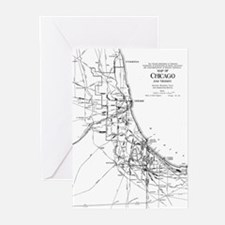 Vintage Map of The Chicago Railroad Greeting Cards