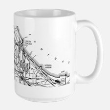 Vintage Map of The Chicago Railroad Network ( Mugs