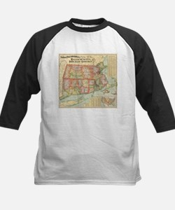 Vintage Map of New England States Baseball Jersey