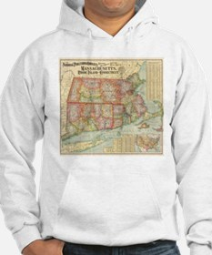 Vintage Map of New England State Hoodie