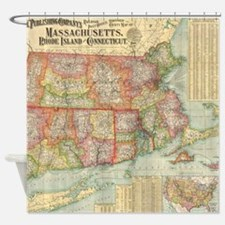 Vintage Map of New England States ( Shower Curtain