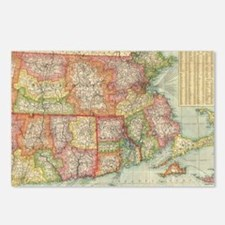 Vintage Map of New Englan Postcards (Package of 8)