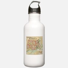 Vintage Map of New Eng Water Bottle