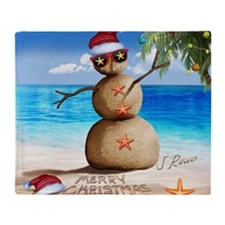 J Rowe Christmas Sandman Throw Blanket