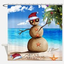 J Rowe Christmas Sandman Shower Curtain