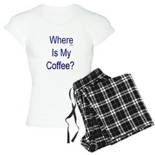 Where Is My Coffee? Blue Letters Pajamas