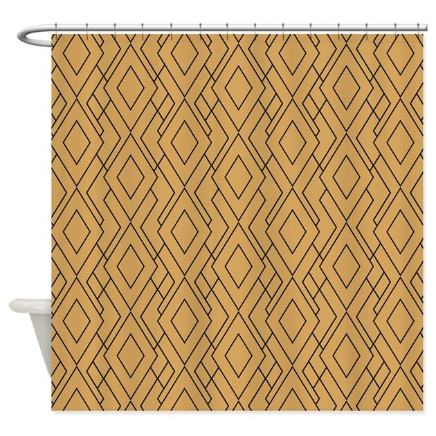 Gold And Black Art Deco Pattern Shower Curtain By KarinaandCleo