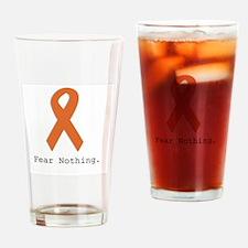 Fear Nothing: Orange Ribbon Drinking Glass