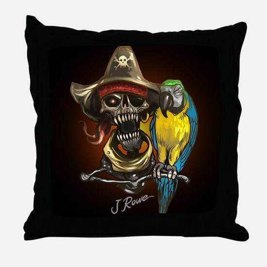 J Rowe Pirate and Parrot Black Backgr Throw Pillow