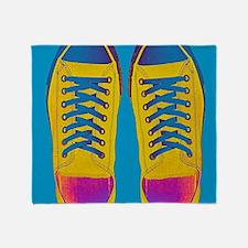 Blue Orange Pink Sneaker Shoes Throw Blanket