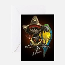 J Rowe Pirate and Parrot Black Back Greeting Cards