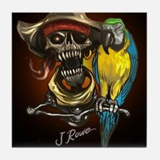 J Rowe Pirate and Parrot Black Backgr Tile Coaster