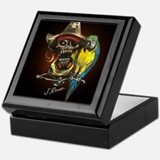J Rowe Pirate and Parrot Black Backgr Keepsake Box