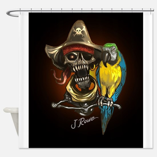 J Rowe Pirate and Parrot Black Back Shower Curtain
