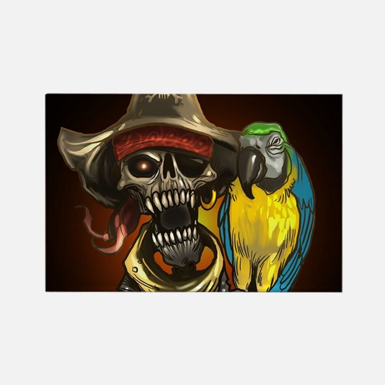 J Rowe Pirate and Parrot Black Background Magnets