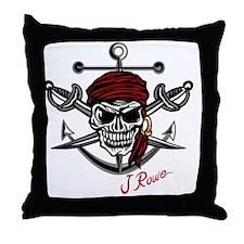 J Rowe Skull Crossed Swords Throw Pillow
