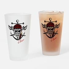 J Rowe Skull Crossed Swords Drinking Glass