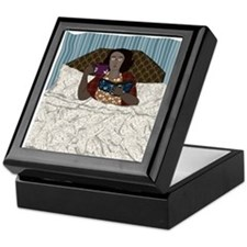 Lady Reading in Bed Storage Box Keepsake Box