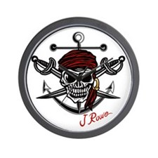 J Rowe Skull Crossed Swords Wall Clock
