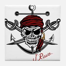 J Rowe Skull Crossed Swords Tile Coaster