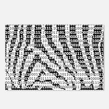Zebra Binary Code Postcards (Package of 8)
