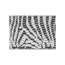 Black and White Zebra Binary Code 5'x7'Area Rug