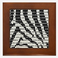 Black and White Zebra Binary Code Framed Tile