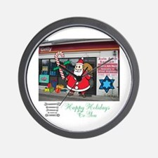 Happy Holidays Getty Santa. Wall Clock
