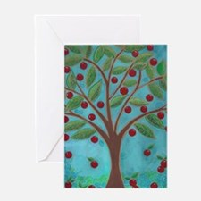 1950's Style Teal and Red Retro Cherry Tree Greeti