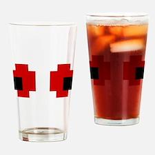 8 Bit Spooky Red Eyes Drinking Glass