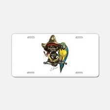 J Rowe Pirate & Parrot Aluminum License Plate
