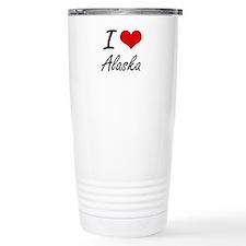 I Love Alaska Artistic Travel Mug