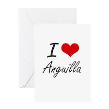 I Love Anguilla Artistic Design Greeting Cards