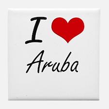 I Love Aruba Artistic Design Tile Coaster