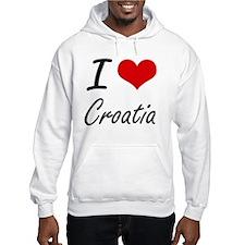 I Love Croatia Artistic Design Hoodie Sweatshirt