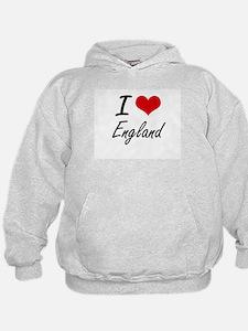 I Love England Artistic Design Hoodie