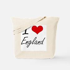 I Love England Artistic Design Tote Bag