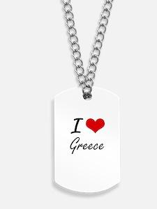 I Love Greece Artistic Design Dog Tags