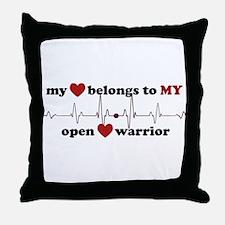 my heart belongs to MY open heart war Throw Pillow